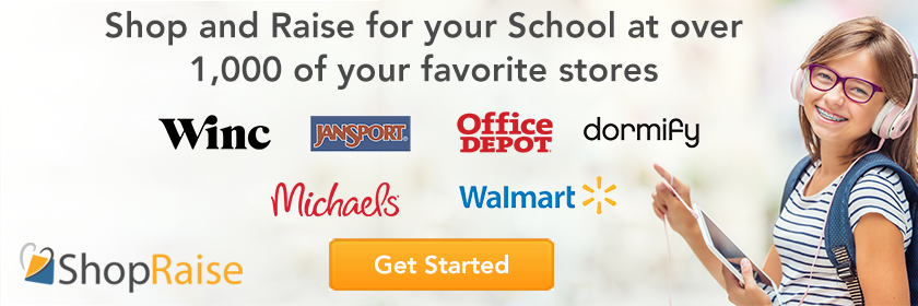 Shop and Raise for your School Get started Button.
